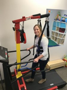 Occuptational Therapist Ashley Cooper testing out the LiteGait
